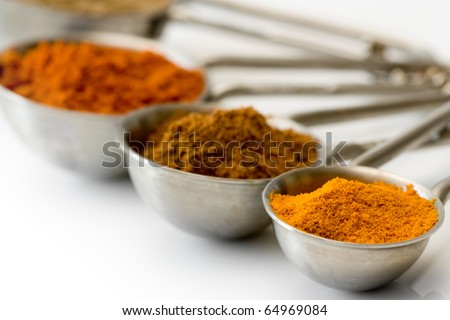Measuring spoons with spices like curcuma, cinnamon and red pepper.