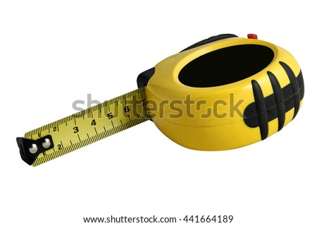 Measuring tape in the yellow body on white. Isolated. - stock photo