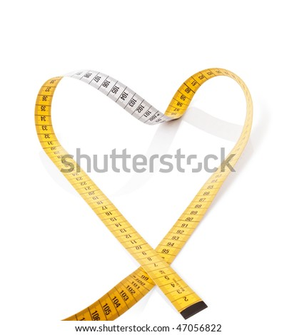 Measuring tape makes heart on a white background