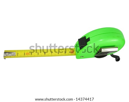 Measuring tape meter isolated over white background - stock photo