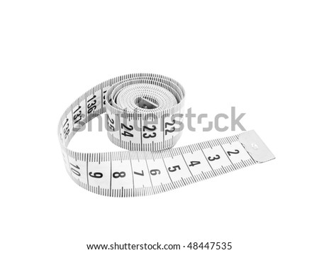 Measuring tape of the tailor isolated on white - stock photo