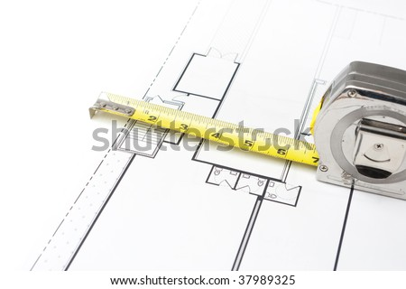 Measuring Tape on Floor Plans - stock photo
