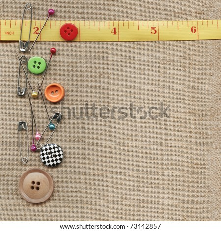 Measuring tape on the fabric - stock photo