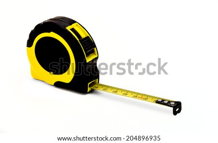 measuring tape on white background - stock photo