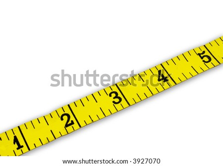 measuring tape on white background with numbers 1-5
