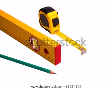 measuring tape, pencil and level isolated over white background - stock photo