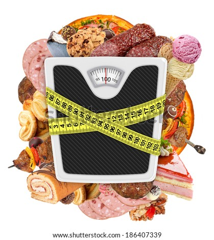Measuring tape wrapped around bathroom scales. Concept of weight loss, diet, unhealthy lifestyle.  - stock photo
