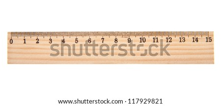 Measuring wooden ruler on a white background - stock photo