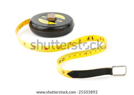 Measuring yellow tape tool ower white background - stock photo