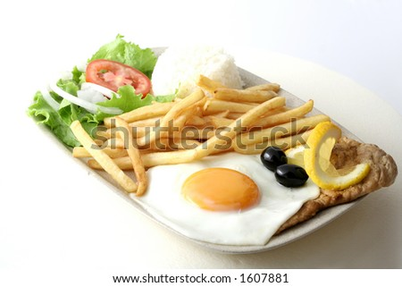 Meat and fries - stock photo