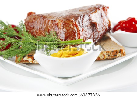 meat and pepper on bread with spices  .shallow dof - stock photo