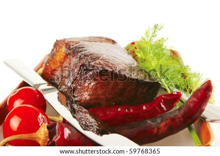 meat and spice on brown bowl over white - stock photo
