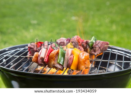Meat and vegetable skewer on barbecue grill with fire - stock photo