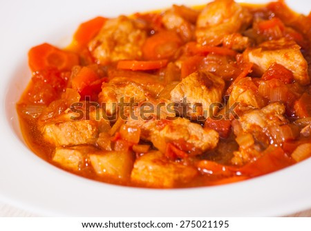 meat and vegetables - stock photo