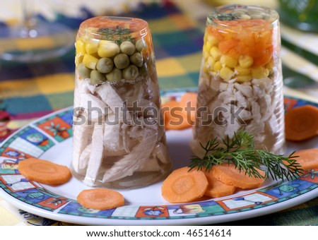 Meat and vegetables in aspic - stock photo