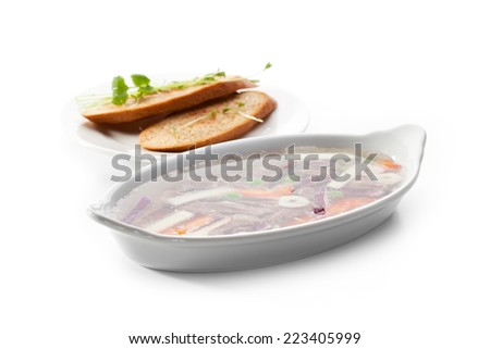 Meat Aspic Bowl with Bread - stock photo