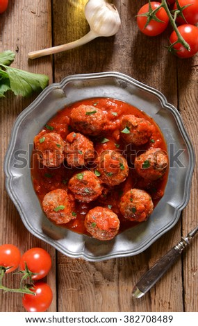 Meat balls in tomato sauce - stock photo