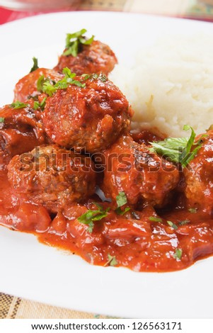 Meat balls with mashed potato, selective focus image