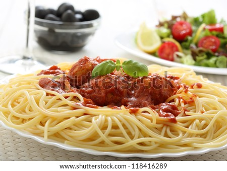 meat balls with tomato sauce with pasta - stock photo