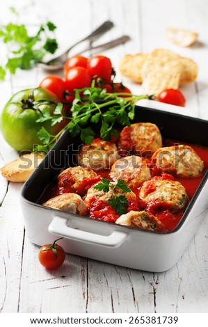 Meat balls with tomato sause, selective focus - stock photo