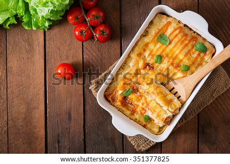 Meat cannelloni sauce bechamel. Top view - stock photo