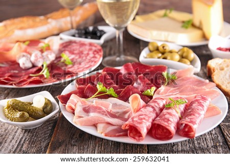 meat,cheese and wine - stock photo