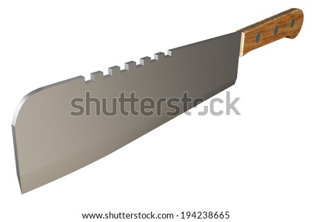 Meat cleaver realistic. isolated white background. 3d