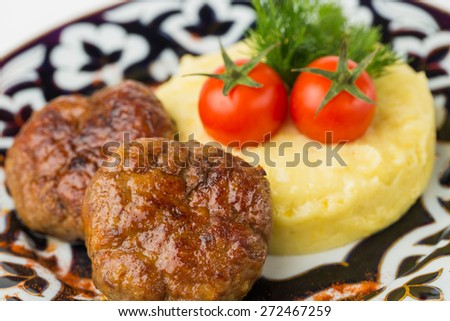 Meat cutlet with garnish and tomato.  on traditional dish, closeup - stock photo