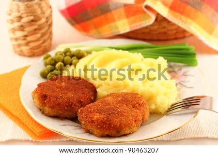 Meat cutlet with potato garnish - stock photo