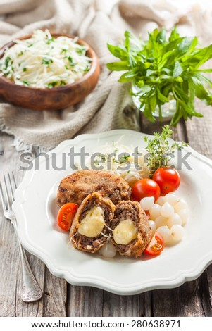 Meat cutlets with cheese. Zrazy cheese - stock photo