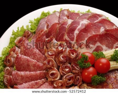 meat delicatessen plate - stock photo