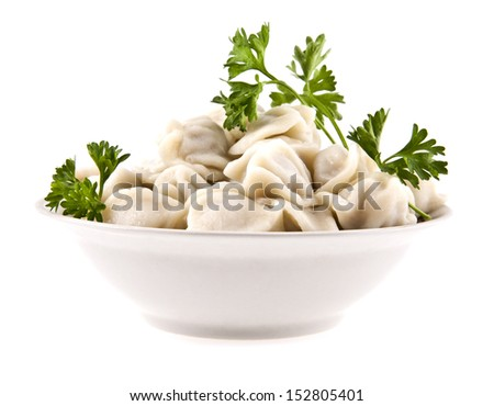 meat dumplings on a white background - stock photo