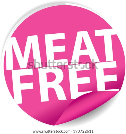 Meat free pink Label, Sign, stickers and symbol. - stock photo