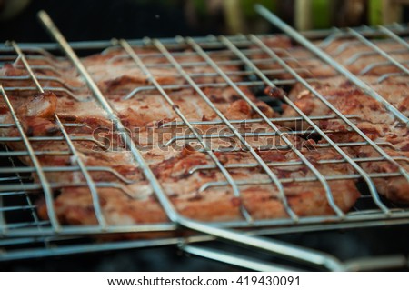 meat grilled on charcoal  on the grill