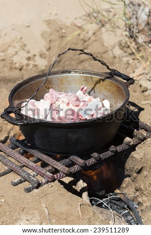 meat in a cauldron on fire - stock photo