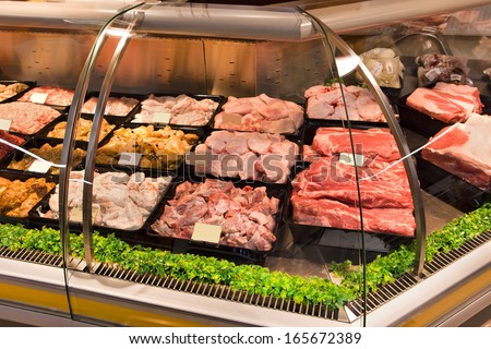 meat in shopping center - stock photo