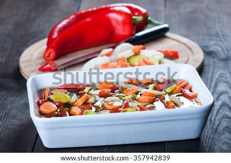 meat in soy sauce with vegetables - prepare the marinade