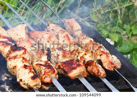 Meat is roasted on skewers - stock photo