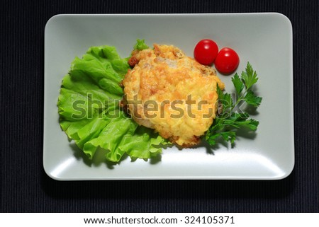meat is served in the restaurant, serving - stock photo