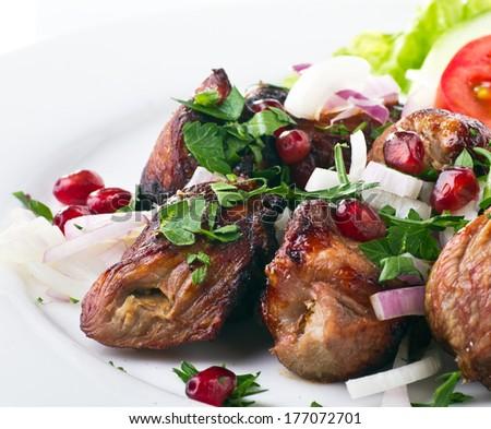 meat kebab - stock photo