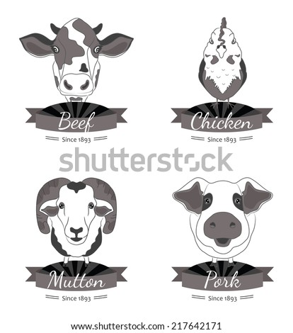 Meat labels collection. Four types of meat - beef, chicken, pork and mutton. Illustrations of the animals. - stock photo