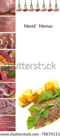 meat menu for the restaurant with the place for text - stock photo