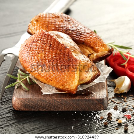 meat of duck and fork  - stock photo
