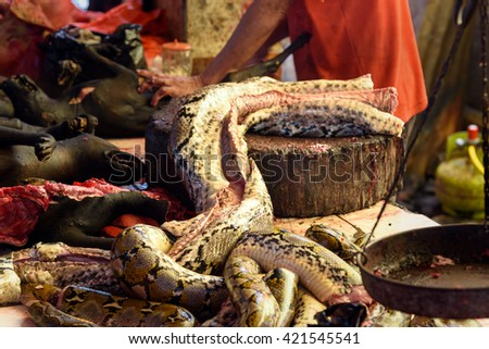 Meat of snake on Tomohon Traditional Market. North Sulawesi. Indonesia
