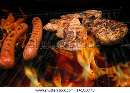 meat on the grill with flames - stock photo