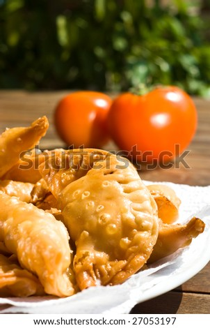 meat pastries on sunny day - stock photo