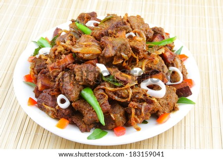 Meat pepper  fry.  - stock photo
