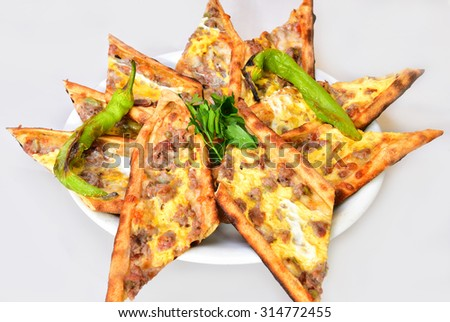 meat pide - stock photo