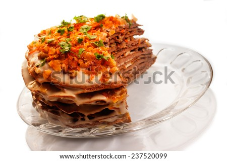 Meat pie on glass plate - stock photo