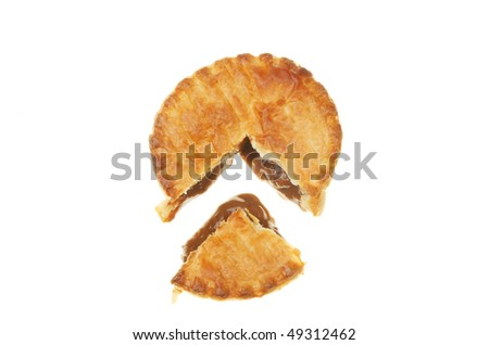 Meat pie with a section cut out isolated on white - stock photo